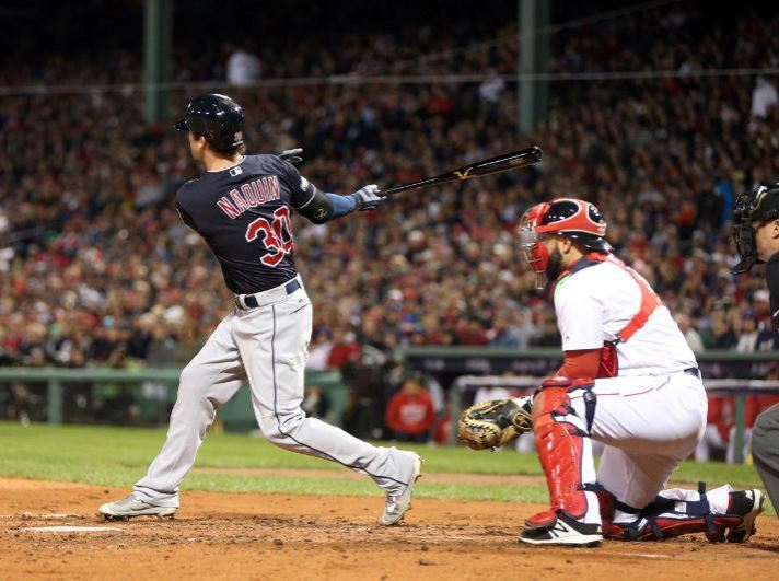 Tyler Naquin hits a two-run single in the fourth inning. ROB TRINGALI/MLB PHOTOS