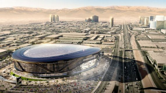 This rendering shows a domed stadium on one of the two possible Las Vegas sites under consideration to become the Raiders' new home. Courtesy MANICA Architecture