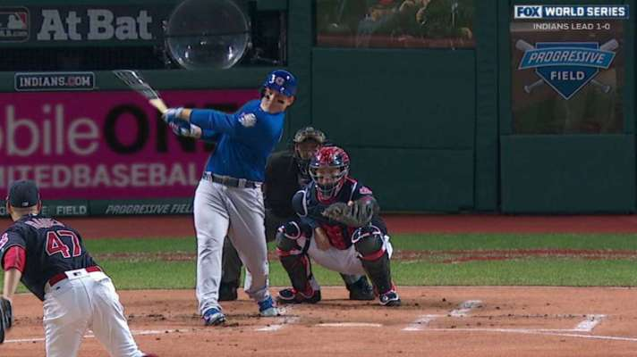 Anthony Rizzo drives a double into the right-field corner, knocking in Kris Bryant to give the Cubs an early 1-0 lead